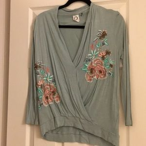 Anthropologie wrap style shirt, embroidered